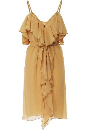Women Sleeveless Dresses - Women's Gold Calf Length Spaghetti Strap Dress With Ruffles & Front Buttons Small BLUZAT
