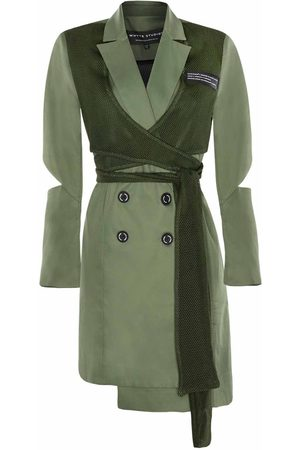 "Women Skirts & Dresses - Women's Green Fabric The ""Back Up"" Sports Wrap Blazer Dress Large Whyte Studio"