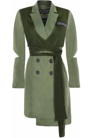 "Women Skirts & Dresses - Women's Green Fabric The ""Back Up"" Sports Wrap Blazer Dress Medium Whyte Studio"