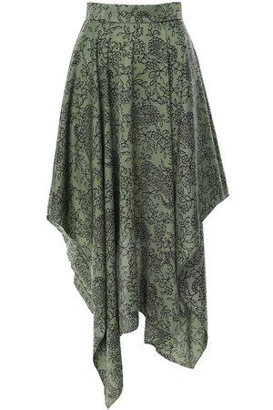 Women Printed Skirts - Women's Green Peasley Printed Asymmetrical Flared Skirt XS BLUZAT