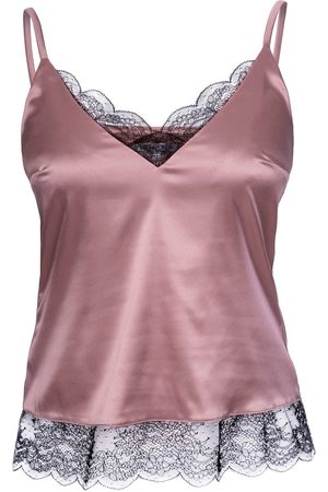 Women Sweats - Women's Artisanal Rose Gold Fabric Top With Lace Small Epifania Nightwear