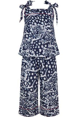 Women's Organic Navy Cotton Bow Cami Set - Leopard XS Moon + Mellow