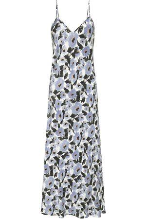 Women Casual Dresses - Women's Low-Impact Blue Silk 90S Slip Dress French Flowers Large Silk Laundry