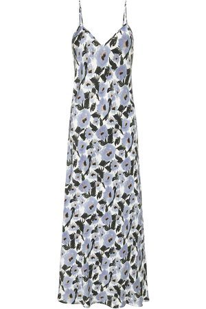Women Casual Dresses - Women's Low-Impact Blue Silk 90S Slip Dress French Flowers XL Silk Laundry