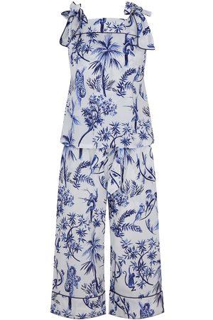 Women's White Cotton Bow Organic Cami Set - Jungle XS Moon + Mellow