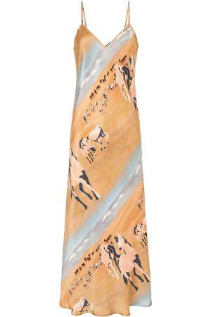 Women Casual Dresses - Women's Low-Impact Brown Silk 90S Slip Dress Horses Large Silk Laundry