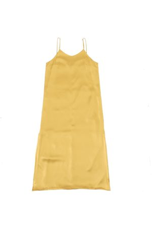 Women's Organic Yellow Silk Calabar Slip Dress XL 1 People
