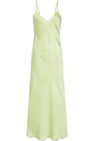 Women Casual Dresses - Women's Low-Impact Green Silk 90S Slip Dress - Luminary Large Silk Laundry