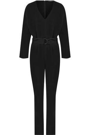 Women's Artisanal Black Crepe Belt Detail Jumpsuit Small kith & kin