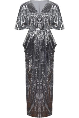 Women's Silver Nalè - Wide Leg Sequin Palazzo Jumpsuit Medium NALÈ