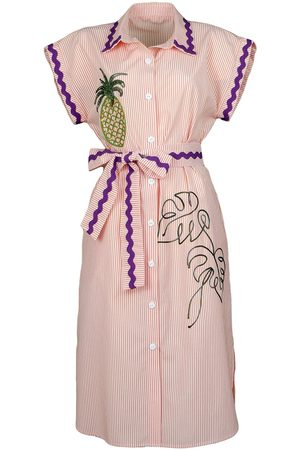 Women's Artisanal Purple Cotton Pinstripe Shirtdress With Pineapple Embroidery Large Lalipop Design