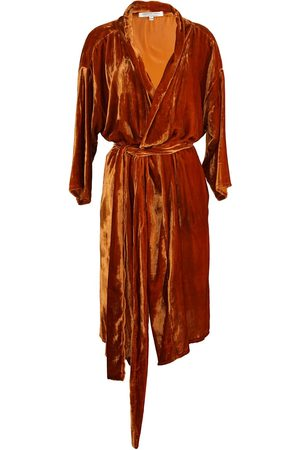Women's Artisanal Orange Velvet Harissa Silk Koi Kimono S/M Jennafer Grace
