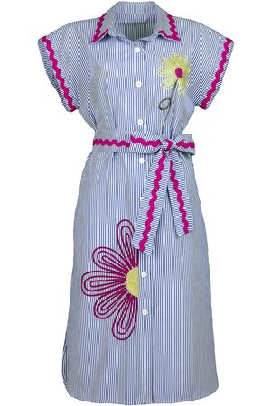 Women Casual Dresses - Women's Artisanal Fuchsia Cotton Pinstripe Shirtdress With Flower Embroidery Medium Lalipop Design