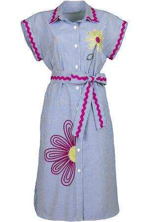 Women Casual Dresses - Women's Artisanal Fuchsia Cotton Pinstripe Shirtdress With Flower Embroidery Small Lalipop Design