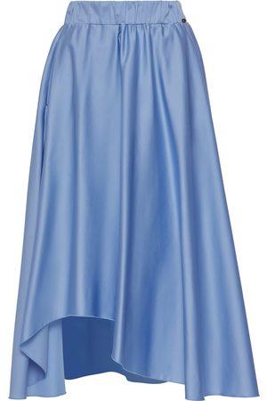 Women Asymmetrical Skirts - Women's Blue Cotton Asymmetrical Poplin Skirt Medium Nissa