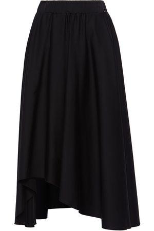 Women's Black Cotton Asymmetrical Poplin Skirt Large Nissa