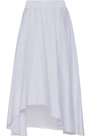 Women Asymmetrical Skirts - Women's White Cotton Asymmetrical Poplin Skirt Medium Nissa