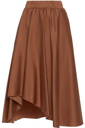 Women Asymmetrical Skirts - Women's Natural Cotton Asymmetrical Poplin Beige Skirt Medium Nissa
