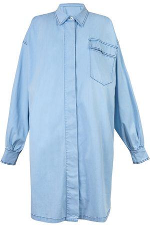 Women Casual Dresses - Women's Organic Blue Lightweight Denim Shirt Dress XL Damson Madder