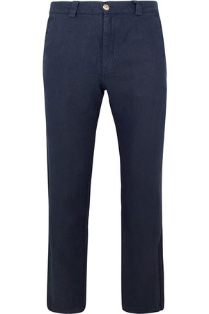 Men's Recycled Blue Cotton Linen Pants With Back Cargo Pockets- Marine Small Haris Cotton