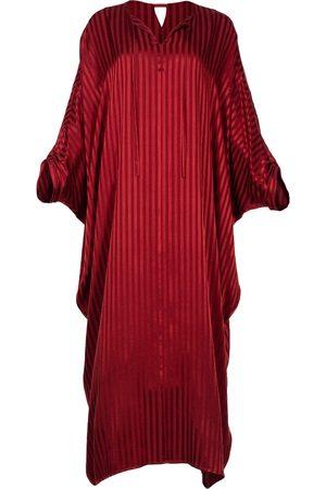 Women's Artisanal Red Silk Viscose Kaftan Dress With Sleeves Alya XL/XXL AZOiiA