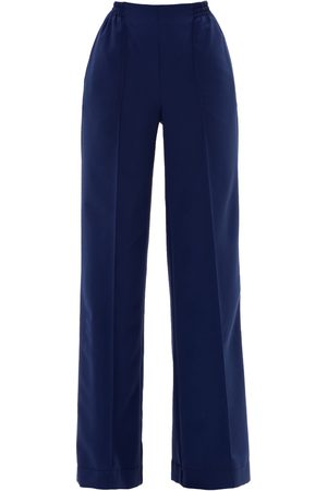 Women Straight Leg Pants - Women's Artisanal Blue Cotton Loose Straight Leg Trousers With Elastic At The Waist Medium Julia Allert