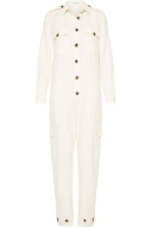 Women Jumpsuits - Women's Low-Impact White Silk -Linen Boiler Suit Small Silk Laundry