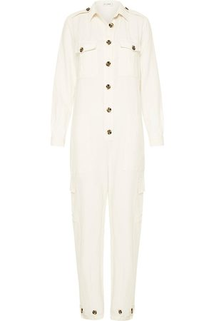 Women's Low-Impact White Silk -Linen Boiler Suit Large Silk Laundry
