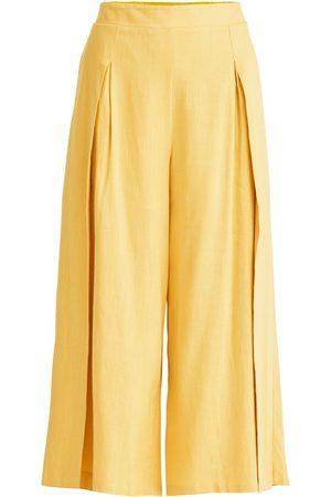 Women Culottes - Women's Non-Toxic Dyes Yellow Cotton Linen Blend Culottes In Medium PAISIE