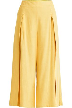 Women Culottes - Women's Non-Toxic Dyes Yellow Cotton Linen Blend Culottes In Small PAISIE