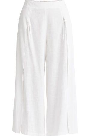 Women Culottes - Women's Non-Toxic Dyes White Cotton Linen Blend Culottes In Medium PAISIE