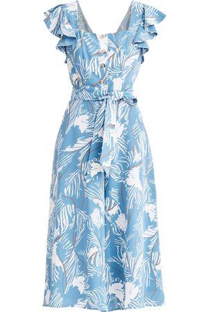 Women's Non-Toxic Dyes Blue Cotton Square Neck Jumpsuit In XXS PAISIE