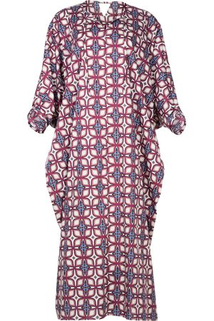 Women Tunic Dresses - Women's Artisanal Cotton Moroccan Style Kaftan Dress Alya L/XL AZOiiA