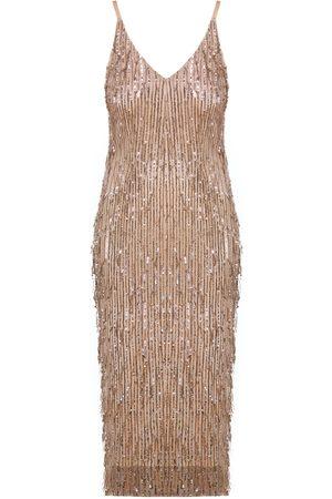 Women's Artisanal Peach Fabric Pamela Pastel Sequin Fringe Midi Slip Dress Large UNDRESS