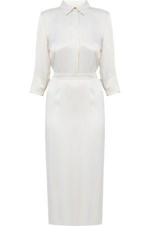 Women Casual Dresses - Women's Artisanal White Fabric Luana Pearl Midi Shirt Dress With Pencil Skirt Small UNDRESS