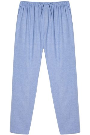 Men Boxer Shorts - Organic Blue Cotton Men's Staffordshire Herringbone Brushed Pyjama Trousers Medium British Boxers
