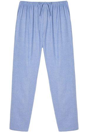 Men Boxer Shorts - Organic Blue Cotton Men's Staffordshire Herringbone Brushed Pyjama Trousers XL British Boxers