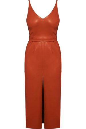 Women Casual Dresses - Women's Vegan Brown Leather Calista Soft Midi Dress With Front Slip Large UNDRESS