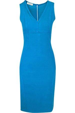 Women's Recycled Blue Cotton Slim Fit Jersey Linen-Blend Stretch Pencil Dress - Akti Medium Haris Cotton