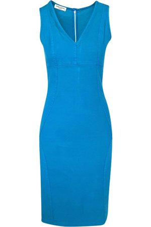 Women's Recycled Blue Cotton Slim Fit Jersey Linen-Blend Stretch Pencil Dress - Akti XS Haris Cotton