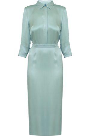 Women's Artisanal Blue Fabric Luana Cadet Midi Shirt Dress With Pencil Skirt Small UNDRESS