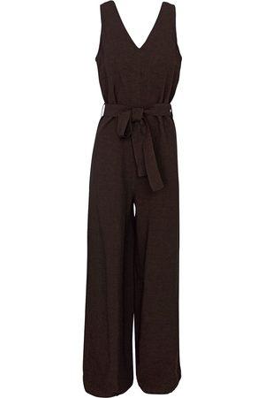Women's Recycled Black Cotton Linen-Blend Wide Legged Jumpsuit XS Haris Cotton
