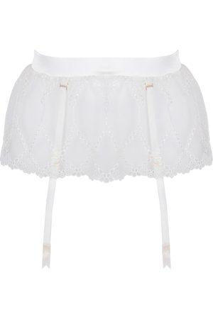 Women's Ivory Silk Aurora Longline Suspender Medium Studio Pia