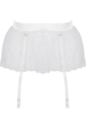 Women's Ivory Silk Aurora Longline Suspender XS Studio Pia