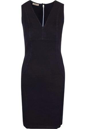 Women's Recycled Black Cotton Slim Fit Jersey Linen-Blend Stretch Pencil Dress Medium Haris Cotton