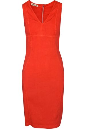 Women's Recycled Red Cotton Slim Fit Jersey Linen-Blend Stretch Pencil Dress - Coral Reef Large Haris Cotton