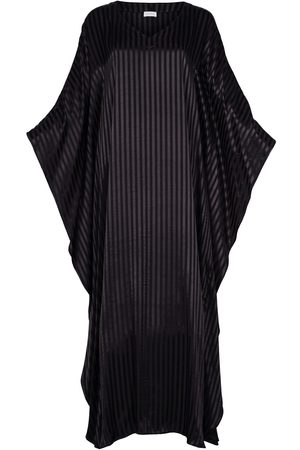 Women Maxi Dresses - Women's Artisanal Black Silk Viscose Maxi Kaftan Dress Athene L/XL AZOiiA