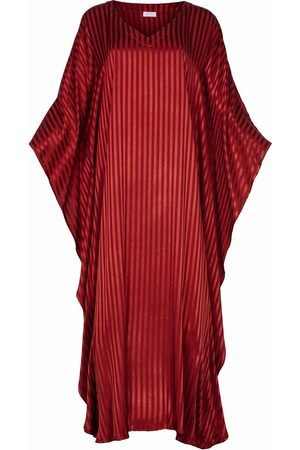 Women Tunic Dresses - Women's Artisanal Burgundy Silk Blend Kaftan Dress Athene L/XL AZOiiA