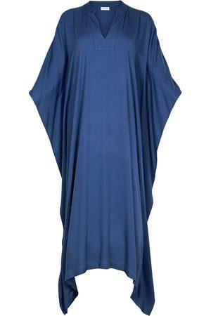 Women's Artisanal Blue Fabric Viscose Midi Kaftan Dress Farida S/M AZOiiA