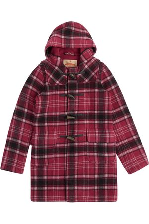Women Duffle Coat - Artisanal Purple Wool Women's Water Repellent Duffle Coat - Tartan Large Burrows & Hare